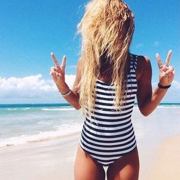 Striped Bandage One Piece Swimsuit Swimwear