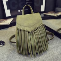 Genuin Leather Women Backpacks Fringe Tassel Shoulder Bags for Teenagers Girls