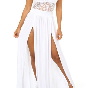 White Lace-Paneled Double Slit Maxi Dress