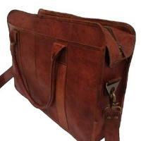 True Grit Leather Refinded Leather 18 Inch Laptop Messenger Briefcase Bag
