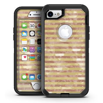 Pink Watercolor Grunge with Gold Stripes - iPhone 7 or 7 Plus OtterBox Defender Case Skin Decal Kit