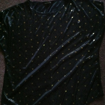 80s black gold silk polka dot blouse