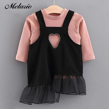 Melario Baby Dresses 2018 New Spring Autumn Baby Girls Clothes Mesh Patchwork T-shirt+Dress 2Pcs Princess Dress Newborn Dress