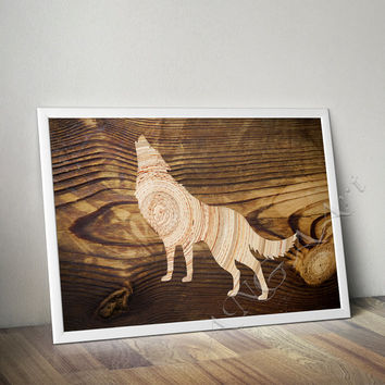 Wolf, Wolf wall art, Wolf poster, Wolf home decor, Wood texture, Rustic decor, Wolf home print, Pritnable, Wolf instant download, Animal