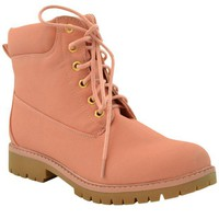 DCK7YE Womens Ankle Boots Lace Up Lug Sole Booties Hiking Shoes Pink