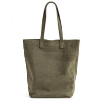 BAGGU Leather Basic Tote Olive Suede
