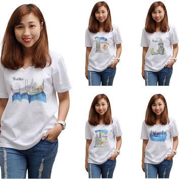 Women Watercolor famous place painting Printed T-shirt WTS_16