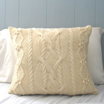 Wool Cable Knit Pillow Cover