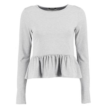 Lilly Long Sleeve Frill Hem Top | Boohoo