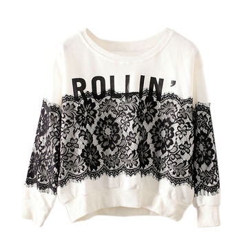Letter Print Lace Pullover Loose Sweater