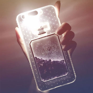 3D Perfume Bottle Quicksand Light Up Phone Case for iPhone 6s 6 7 Plus 5S Case Luxury Glitter Soft TPU Silicone Pink Clear Cover