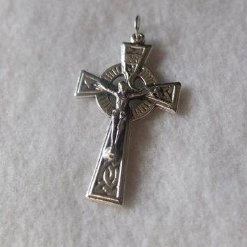 Celtic Crucifix Cross Silver Oxidized Metal Antique Finish Necklace Rosary Parts Pendant Charm Medal Italy