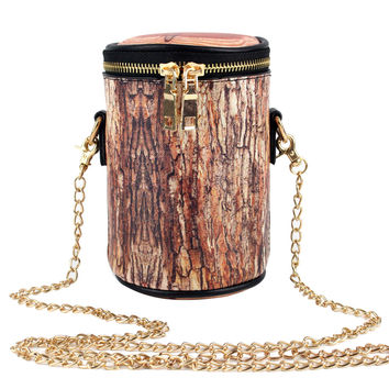 Leather Chain Women Bag Wood Stub Stump Barrel Handbags Bucket Cross Body Bags Women Messenger Bags Bolsa Bolsa Feminina  SN9