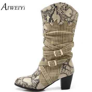 AIWEIYi Women's Winter Snow Boots Lady's Western Cowboy Boots Snake Print Mid Calf Snow Boots Shoes Women Botas Mujer Fur Boots