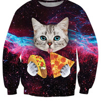 Long Sleeves Crew Neck Cat Print Sweatshirt