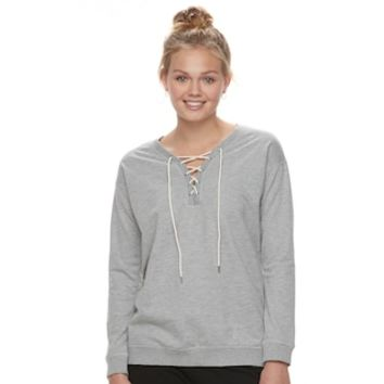 Juniors' Cloud Chaser Lace-Up Sweatshirt | null