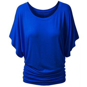 Short Sleeve Round Neck Slim Tops [6259186692]