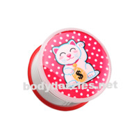 Lucky Cat Single Flared Ear Gauge Plug Plug Body Jewelry