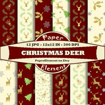 Christmas Deer Digital Scrapbook Paper - Reindeer - Metallic Gold Foil - Red Green Gold