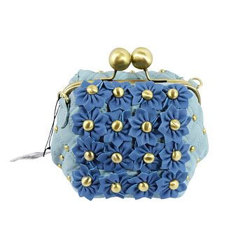 Bohemian Blue Flower Garden Chunky Kiss Lock Quilted Crossbody Purse
