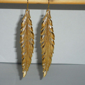 long gold leaf earrings, nature jewelry, gold feather earrings, gifts under 20, gold dangles