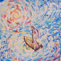 Abstract Impressionism Original Oil Painting Boat on Seascape Dawn Contemporary Modern Art Russian Artist Expressionist Nature Artwork