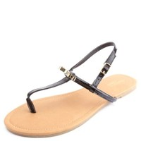 BOW-TOPPED PATENT T-STRAP THONG SANDALS