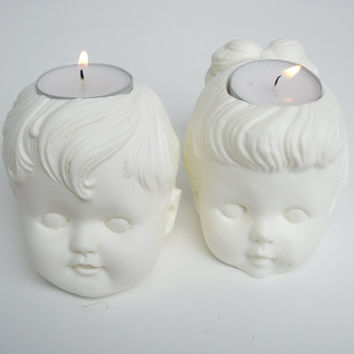 Vintage Boy and Girl Doll Pair of Tea Light Candle Holders
