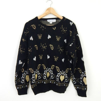 Vintage 80s Oversize Sweater - Black with Silver and Gold Lurex Hearts, Paisley, Butterflies - Womens Crewneck