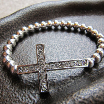 Crystal Sideways Cross Bracelet with Sterling Silver Beads