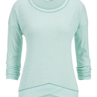 Thermal Crossover Hem Pullover - Aquamint