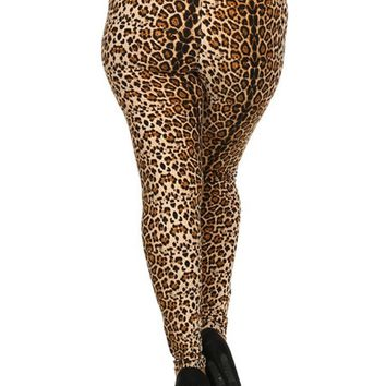 Curvy Animal Printed Leggings, Brown