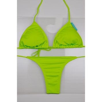 Lime Green 3 Piece Set Triangle Top, Side Tie Thong & Side Tie Scrunch Bottom Bikini Swimsuit (Many colors available)