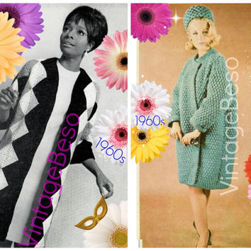 Coat Crochet Pattern Vintage 1960s Harlequin Diamond Coat Crochet Pattern Topcoat and Pillbox Hat Pattern Instant Download PdF Pattern