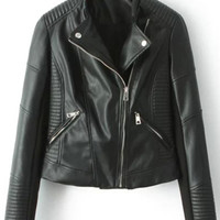 Stand Collar With Zipper Crop Jacket