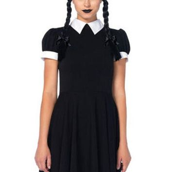 VONE5FW The 2PC. Gothic Darling, Classic Collared Dress, Braided Wig w/Bows in Black and White