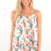 Ivory Top with Cactus Print and Criss-Cross Back Detail