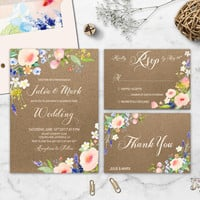 Floral Rustic Wedding Invitation Printable Kraft Blush Wedding Suite Boho Wedding Invite Watercolor Flower Custom Wedding Set Digital File