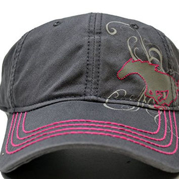 Ford Women's Pink & Gray Mustang Pony Hat One Size Fits All Adjustable Strap