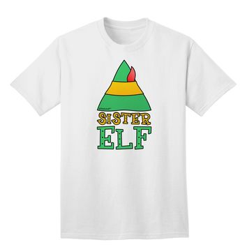 Matching Christmas Design - Elf Family - Sister Elf Adult T-Shirt