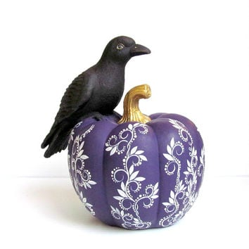 Crow On a Pumpkin Crow and pumpkin Purple pumpkin with a black crow raven bird Thanksgiving Halloween Pumpkin Raven decor