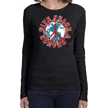 Ladies Peace T-shirt Give Peace a Chance Long Sleeve
