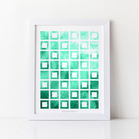 Printable wall decor, Aqua green art print Office decor, Digital print, Wall print Bathroom decor, Geometric print, 8x10 Wall art Home decor