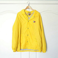 TOMMY HILFIGER 90's Vintage Windbreaker Jacket L Large Yellow