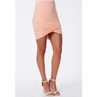 Missguided - Gathered Wrap Mini Skirt Peach