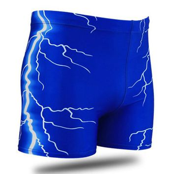 Men Male Lightning Print Swimming Trunks Briefs Boxer Shorts Bathing Suit Swimwear Swimsuit Swim Pants Beach Swim Wear Plus Size