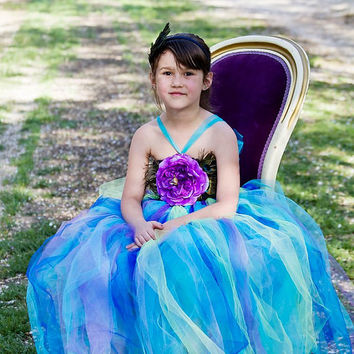 Crochet Tutu Dress, Blue Peacock Dress, Peacock Tutu, Tutus For Children, Pageant OOC, Outfit of Choice, Purple Tulle Dress, 6/6x, 7