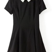 Color Block Short Sleeve A-line Dress