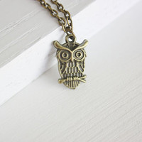 Tiny Owl Necklace I, Antique Brass, Bronze, Antique Brass Chain
