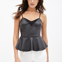 FOREVER 21 Faux Leather Peplum Cami